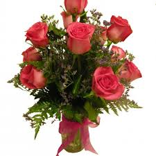 florist in tulsa flower delivery twelve pink roses arranged in a gl vase with greenery