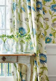 botanical print ds curtains in blue white and green house of turquoise thibaut