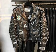 mens silver spiked motorcycle leather jacket studded