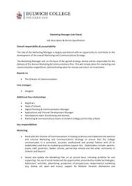 Music Manager Job Description Marketing Manager Job Share Job Description