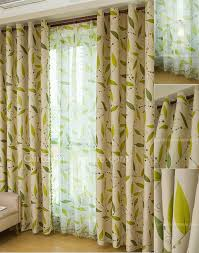 leaf in lime green curtains of camel color toile fabric for blackout curtain