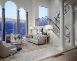 living room floor lamps. example of a transitional open concept family room design in detroit with white walls living floor lamps