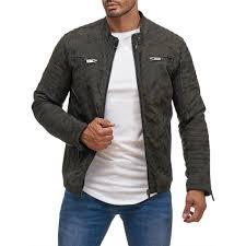 red bridge men s imitation leather jacket transition jacket biker jacket quilted camouflage