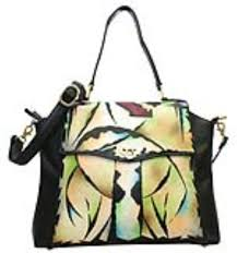 home magnifique bags handpainted purses bags black mylar art leather hand painted handbag