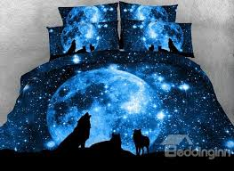 65 3d wolf and galaxy printed cotton 4 piece blue bedding sets duvet covers