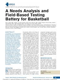 A Needs Analysis And Field-Based Testing Battery For Basketball ...