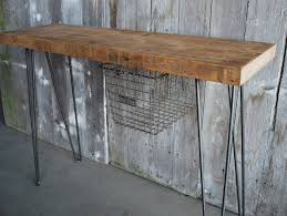industrial metal and wood furniture. Rustic Industrial Console Table Made From Reclaimed Wood With Metal Legs And Mounted Wire Basket Storage Ideas Furniture