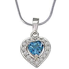 surat diamond heart shaped blue topaz real diamond pendant with 18 in chain sdp258