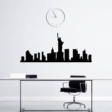 new york skyline wall decal vinyl sticker nyc skyline city scape silhouette decals offiice college dorm on new york skyline wall art stickers with best new york city skyline wall decal products on wanelo