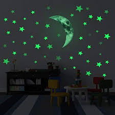 kilofly Glow in The Dark <b>Luminous Moon Stars</b> Wall Ceiling Decal ...