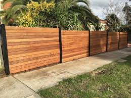 Merbau front feature fence steel posts horizontal merbau front
