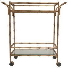 bamboo bar cart. Axel Antique Gold Bamboo-Effect Tea Cart Bamboo Bar A