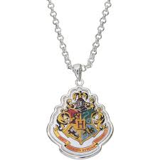 harry potter silver over brass hogwarts crest pendant