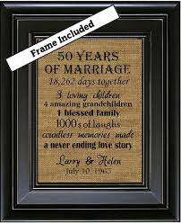 50th wedding anniversary 50th anniversary gifts 50th wedding anniversary gifts 50 years of marriage burlap wall art subway art