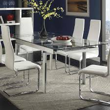 glass and chrome dining table new coaster wexford rectangular expandable within jarrow furniture incredible foter regarding from portable dinner grey gloss
