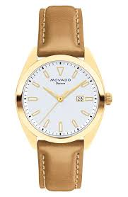movado heritage datron leather watch