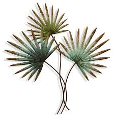 stylecraft weathered painted palm leaves metal wall sculpture