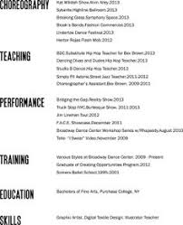 Bad Layout, but good reminder of what to put on a dance resume, and