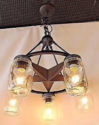 5 light clear mason jar lighting lone star chandelier in rubbed bronze finish