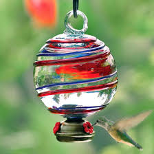 red glass hummingbird feeder blue and red stripe dew drop glass hummingbird feeder yard envy red