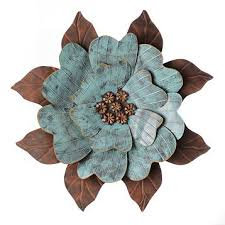 turquoise metal flower wall art