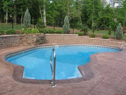 Exterior:Winsome Decorating Backyard Small Pool Designs Inspiration With  Brown Tiled Deck Floor Also Black