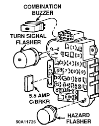 The fuse block is to the left of the steering column under the instrument panel