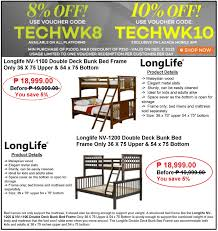 furniture save. Save 8% Up To 10% Off Discount On Longlife Double Deck Bunk Bed Frame Sale At Lazada\u0027s Tech Week Promo Furniture