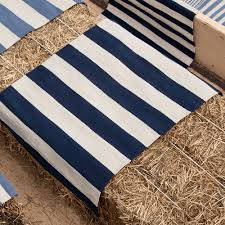 catamaran stripe indoor outdoor rug in navy blue posh tots furniture detail image