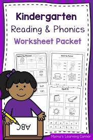 Phonics is a method of teaching kids to learn to read by helping them to match the sounds of letters, and groups of letters, to distinguish words. Kindergarten Reading And Phonics Worksheet Packet Mamas Learning Corner