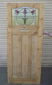 1930 edwardian stained glass exterior door green circle