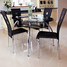Dining Table Chairs Kitchen Sets Black Simple Round Room Small And