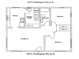 floor plan of a house with dimensions. Floor Plan Of The Two-bedroom House On 428 N. Washington In Moscow, A With Dimensions H