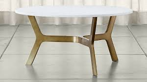 charming white marble coffee table in elke round with brass base reviews crate and
