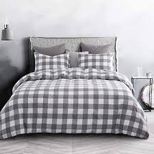 wake in cloud gray plaid comforter