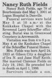 Obituary for Nancy Ruth Fields, 1923-2001 (Aged 78) - Newspapers.com