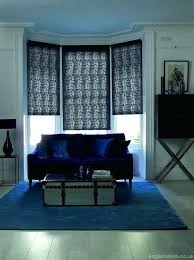 patterned blackout blinds bedroom modern blue fl roller in a bay window