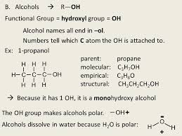 Alcohols R Oh Functional Group Hydroxyl Group Oh Ppt Video