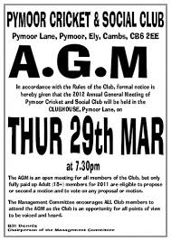 The Pymoor Cricket Social Club Are Holding Their Annual General