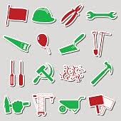 labor day theme international worker day or labor day theme set of outline icons