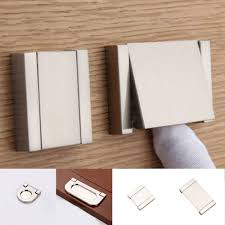 Kitchen Cabinets Pull Handles Door Drawer Knob Silver Invisible Flat