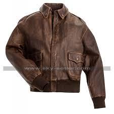 a2 aviator air force pilot men vintage distressed brown leather er jacket