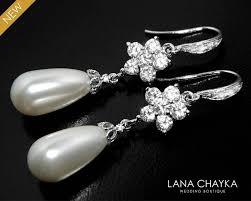 white pearl bridal chandelier earrings swarovski pearl teardrop earrings wedding pearl silver earring bridal bridesmaid jewelry prom jewelry 32 00 usd
