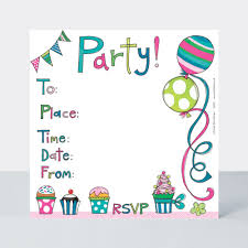 Party Invite Cakes And Balloons Pack Of 8