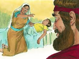 FreeBibleimages :: Elijah and the widow of Zarephath :: God provides a widow with oil and flour to feed Elijah then, when her son dies, raises him back to life (1 Kings 17:7-18:1)