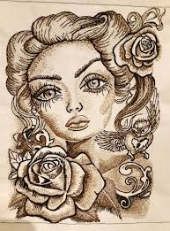 Eyes Embroidery Design Romantic Beauty With Big Eyes Embroidery Design Romantic