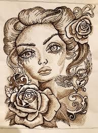 Romantic Embroidery Designs Romantic Beauty With Big Eyes Embroidery Design Romantic