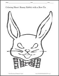 Small Picture Bunny Rabbit with a Bow Tie Coloring Page Student Handouts