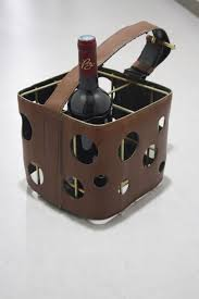 attributed to jacques adnet 1901 1984 brown leather bottle holder