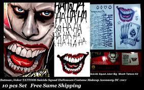 dels about squad joker batman costume tattoo kit makeup accessory 10 pcs